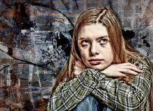 Artistic Portrait Collage of Frustrated Young Woman royalty free stock image