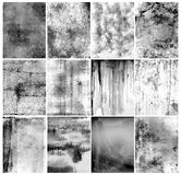 Photographic emulsion background. Black and white set of abstract photographic emulsion background with smudged and scratched surfaces stock photo