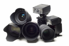 Photographic equipment. Royalty Free Stock Images