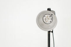 Photographic equipment isolated on gray wall. Background Stock Photo