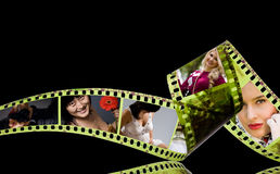Photographic film 35mm with colorful photos inside. Frames Stock Photography