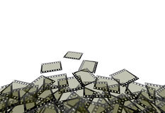 Photographic film background. An illustration of a pile of individual photographic film frames or negatives Stock Image
