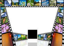 Photographic film with pictures. Photographic film with various pictures and with empty place for editors Stock Image