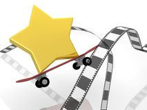Photographic film with star and skateboards Royalty Free Stock Photos