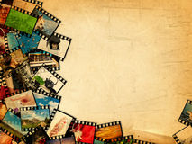 Photographic Films. A Lot of Color Photographic Films (I am an Author of All Photos) Over Vintage Background, Copyspace Stock Images