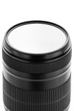 Photographic filters. Photographic camera equipment filter on white seamless background Stock Image