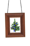 Photographic frame and Christmas tree Stock Images