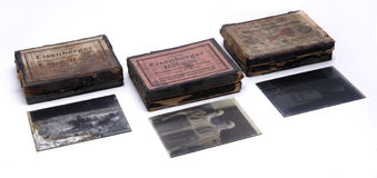 Photographic glass plates. Old photographic glass plates. Early 20th century royalty free stock photography