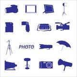 Photographic icon set eps10. Blue photographic icon set eps10 Royalty Free Stock Image