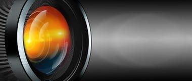 Photographic lens on black background Stock Photo