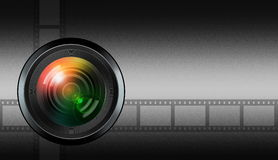 Photographic lens on black background Royalty Free Stock Image