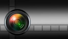Photographic lens on black background Royalty Free Stock Image