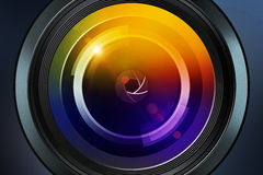 Photographic lens on dark background Stock Image