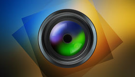 Photographic lens on dark background Royalty Free Stock Photography
