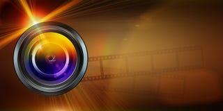 Photographic lens on dark  background Stock Photos