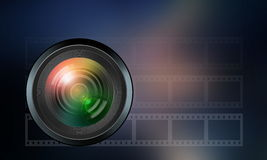 Photographic lens on dark blue  background Stock Images