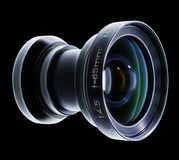 Photographic lens isolated on black back ground.  Royalty Free Stock Images