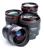Photographic lenses. A collection of several camera or photographic lenses Royalty Free Stock Image