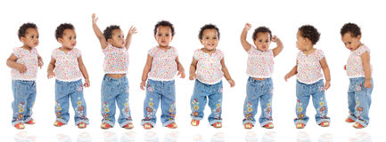 Photographic sequence of a hyperactive baby stock image
