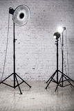 Photographic studio with equipment and accessories Royalty Free Stock Images
