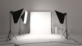 Photographic studio. An illustration of a photographic studio with the background and lights with soft boxes Stock Images