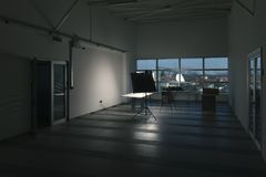 Photographic studio ready for use. In dark Stock Images