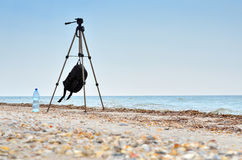 Photographic tripod is on the beach blue sea. Stock Images