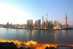 Photographie aérienne à l'horizon de Changhaï du matin Photos libres de droits