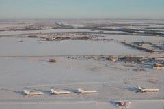 Photographie aérienne, aérodrome et territoires adjacents en hiver Kazan, Russie images libres de droits