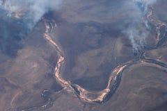 Photographie aérienne des feux de brousse dans l'Australie Photographie stock libre de droits