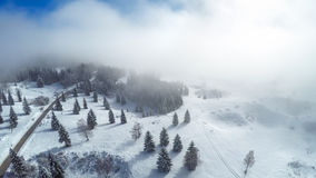 Photographie aérienne du pays des merveilles d'hiver Images stock