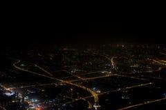 Photographie aérienne la nuit Photographie stock libre de droits