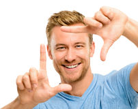 Photographie de encadrement d'homme heureux Photos stock