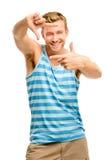 Photographie de encadrement d'homme heureux Image stock