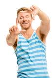 Photographie de encadrement d'homme heureux Photo stock