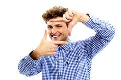 Photographie de encadrement d'homme heureux Image libre de droits