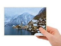 Photographie de Hallstatt Autriche de station de sports d'hiver de montagnes à disposition Photos stock