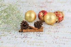 Photographie de Noël des fleurs avec des cônes de pin de scintillement et des babioles sur le fond de papier d'emballage de Noël Images stock