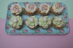 Photographie de nourriture d'un plateau floral de modèle rempli de petits gâteaux faits à la maison avec l'écrimage de crème de b Images stock