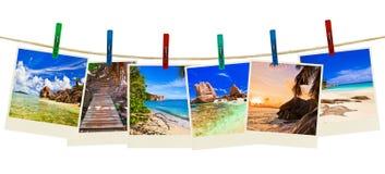 Photographie de plage de vacances sur des pinces à linge Image libre de droits