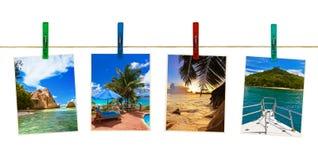 Photographie de plage de vacances sur des pinces à linge Photographie stock libre de droits