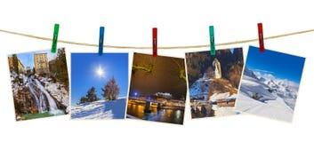 Photographie de ski de montagnes de l'Autriche sur des pinces à linge Images libres de droits