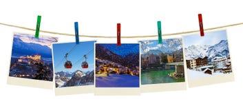 Photographie de ski de montagnes de l'Autriche sur des pinces à linge Photos libres de droits