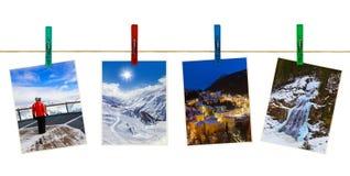 Photographie de ski de montagnes de l'Autriche sur des pinces à linge Photos stock
