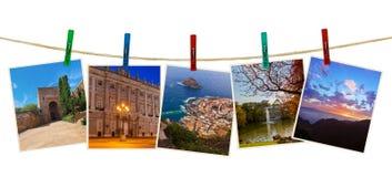 Photographie de voyage de l'Espagne sur des pinces à linge Photo libre de droits