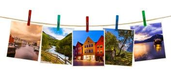Photographie de voyage de la Norvège sur des pinces à linge Photos stock