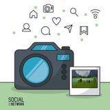 Photographie et réseau social Images stock