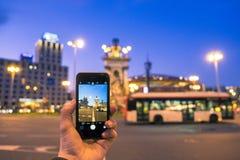 Photographie mobile sur la place d'Espana de plaza Images libres de droits