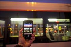 Photographie mobile sur la place d'Espana de plaza Photos libres de droits