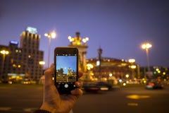 Photographie mobile sur la place d'Espana de plaza Photographie stock libre de droits